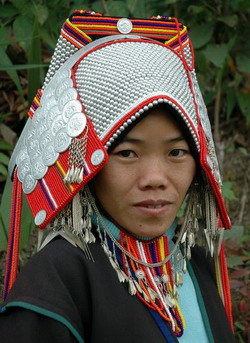 An ethnic Akha woman in tradional dress.