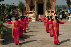 Northern Thai dancers at a Buddhist temple